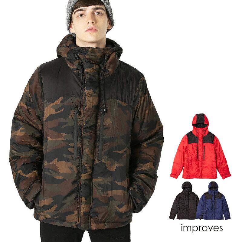 ダウンジャケット メンズ レディース アウター 服 暖かい ダウン ジャケット 中綿 大きいサイズ 軽量 ボリュームネック ブルゾン 防寒着 ジャンパー ジャンバー ブラック カーキ グレー ネイビー ホワイト 黒 白 カジュアル メンズファッション インプローブス improves
