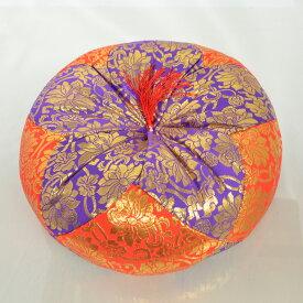 金襴 木魚 布団 (朱×紫) 8号 【仏壇 仏具】