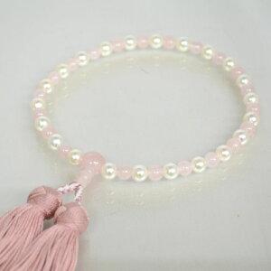 数珠 女性用 真珠 紅水晶コンビ真珠 略式 数珠 本真珠 アコヤ貝