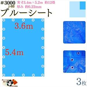 【 ブルーシート 厚手 防水 #3000 3.6×5.4 m 3枚入 】 実寸 3.4×5.2m 厚み 約0.22mm 広さ 約 4畳半 材質 PE ポリエチレン カラー ブルー 青 アルミ ハトメ 付 間隔 約90cm×20個