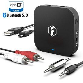 bluetooth 5.0対応 bluetooth トランスミッター レシーバー 送信機 発信機 受信機 ワイヤレス TX RX 2台同時 一台二役 車載 テレビ 光 iPodクラシック TV aptX HD ローレイテンシー Low Latency イヤホン ジャック 無線低遅延 RCAケーブル 高音質 技適マーク承認済 Inateck