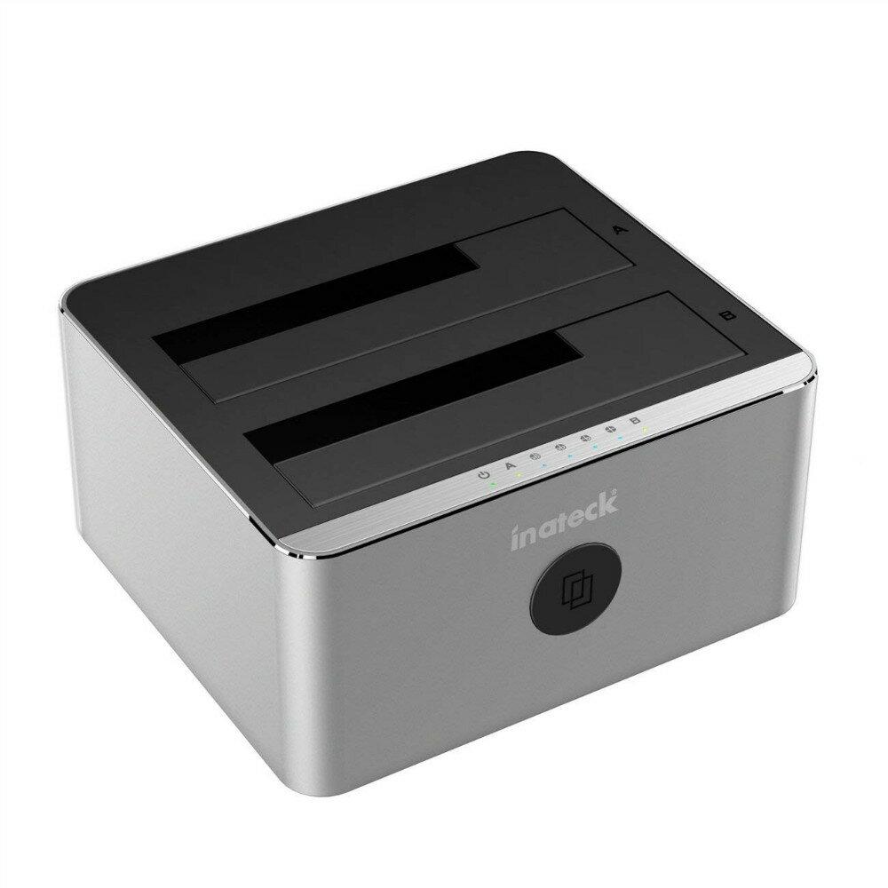 【全品日本全国送料無料】Inateck HDDスタンド デュアルベイハードディスクドッキングステーション USB3.0接続 2.5型/3.5型 (SATA I/II/III) HDD/SSD対応 パソコンなしでHDDのまるごとコピー クローン機能付き アルミ製 工具不要 銀灰色