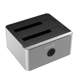 【アルミ筐体】Inateck HDD/SSDスタンド 2BAY デュアルベイハードディスクスタンド ドッキングステーション USB3.0 接続 2.5/3.5インチ SATA III/II/I HDD/SSD対応 HDDデュプリケーター12V/3A電源アダプタ付き 2x8TBにサポート 工具不要