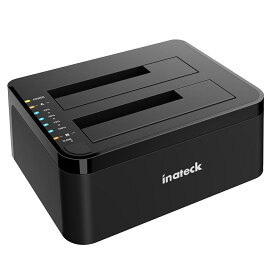 【全品全国送料無料】Inateck USB C 3.1-SATA デュアルベイハードドライブタイプCドッキングステーション、USB typeC オフラインクローン機能付き、2.5/3.5インチHDD SSD SATA(SATA I/II/III)対応、12V/3A電源アダプタ付き、2x8TBにサポート UASP対応、工具不要、1年保証