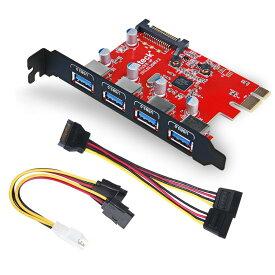 Inateck 4ポートUSB3.0増設ボード UASP対応 補助電源ケーブル付き PCIex1 Rev.2用インターフェースカード 拡張カードアダプタ 4つの外部ポートを備えたPCI-expressカード 電源コネクタ付き