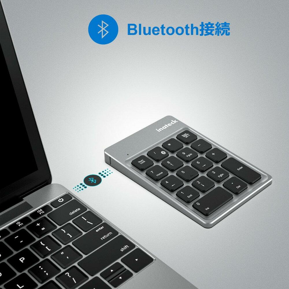 【全品日本全国送料無料】【1年保証付き】Inateck充電式Bluetoothワイヤレステンキー、Windows、Mac OS、iOSおよびAndroid対応、超薄型ポータブル18キー キーボード