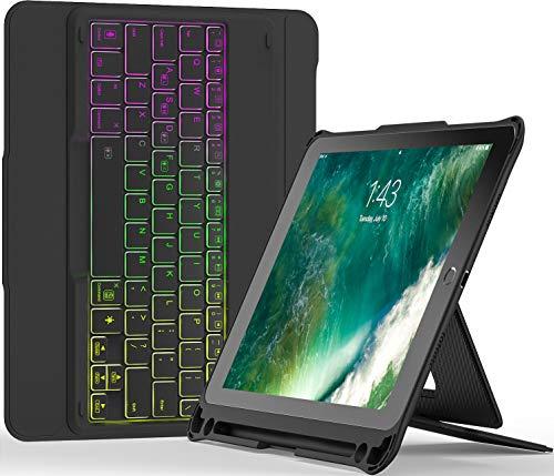 Inateck iPad 9.7キーボードケース、DIYバックライト付き、分離式、第6世代(2018)、第5世代(2017)、iPad Air 1 に対応、KB02008