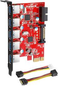 Inateck 5ポートUSB3.0増設ボード 内部20ピンUSB3.0+15ピンSATA電源コネクタ付き PCI Express x1 用 インターフェースボード補助電源ケーブル付き インターフェースカード 拡張カードアダプタ 5つの外部ポートを備えたPCI-expressカード [Fresco FL1100 Chipset]