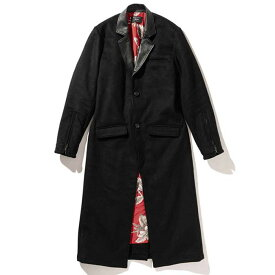 【レザーを組み合わせたロングチェスターコート】glamb グラム / Floria long chester coat (black) [glamb-GB0418-JKT01]