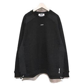 【国内正規品】 【MSGM スウェット】MSGM エムエスジーエム Docking shirt crew sweat black MSGM-2840MM80