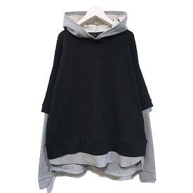 【ラス パーカー】 l.o.s ラス Knit docking hoodie black los-SW21SB04