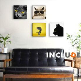 アートパネル ファブリックボード クリエーター 猫 ネコ 子猫 黒猫 メガネ猫 サングラス猫 黄色い眼 イエローアイズ ポスター モノクロ 白黒 表現力 個性 Galaion イラスト ポップアート カフェ オブジェ 風水 デコアップ シンプル