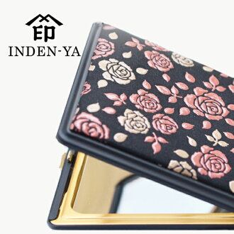 The product made in brand fashion mini pink square Japan Lady's woman folkcraft individual present where I stoop down, and gift NO. 8409 shammy compact mirror 印傳屋 かぐわ mirror has a cute Kagami magnifying glass INDEN-YA 甲州印伝印傳本革 8409 compact mirror in the