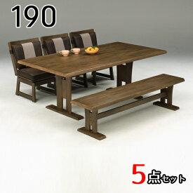 ダイニングテーブルセット ベンチ 6人掛け 5点セット 190テーブル 北欧 モダン おしゃれ シンプル シック ダイニングテーブルセット 木製 無垢材 ダイニングセット 6人 食卓テーブルセット ダイニング チェアー リビングテーブルセット
