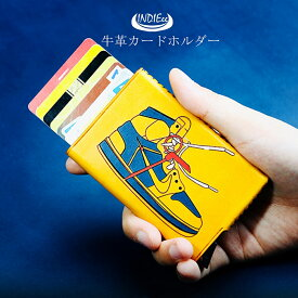 【数量限定】イタリアンレザー カードホルダー コンパクト カードケース キャッシュレス財布 メンズ レディース 小さい財布 本革 レザー 皮 牛革 牛皮 ケース 薄い 個性的 エイジング 誕生日 大人 プレゼント 魅せるカードケース インディ INDIEee