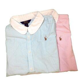 【並行輸入品】[ポロラルフローレン] 313534029 ガールズ(レディース対応)半袖ストライプ オックスフォードシャツ・ブラウス Ralph Lauren Oxford Shirt(あす楽)