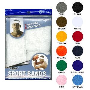 【メール便対応】KING J HEAD BAND & WRIST BANDS【BLACK/WHITE/RED 他】(通販 男女 兼用 ユニセックス ヘッドバンド ヘアバンド リストバンド スポーツ 無地)