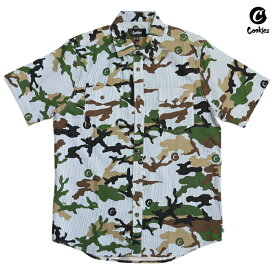 【SPECIAL PRICE】【送料無料】COOKIES SF VINTAGE CAMO SEERSUCKER BUTTON SHIRTS【CAMOUFLAGE】(M・L・XL)(COOKIES SF 通販 メンズ 大きいサイズ 半袖 シャツ オープンシャツ ボタンシャツ)