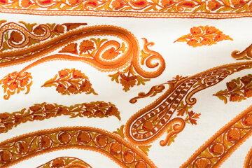 ★NEW★アーリ刺繍ストール白(ホワイト)/オレンジイエローレッド