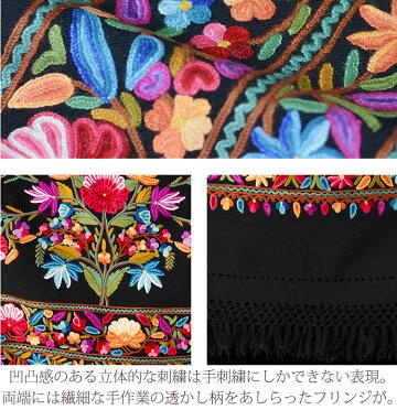 ★NEW★アーリ刺繍ストール黒(ブラック)L06ae08560