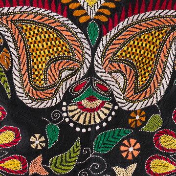★NEW★カンタ刺繍ストールLサイズブラック/レッド・イエロー・グリーン・オレンジ・サーモンピンク・ホワイト