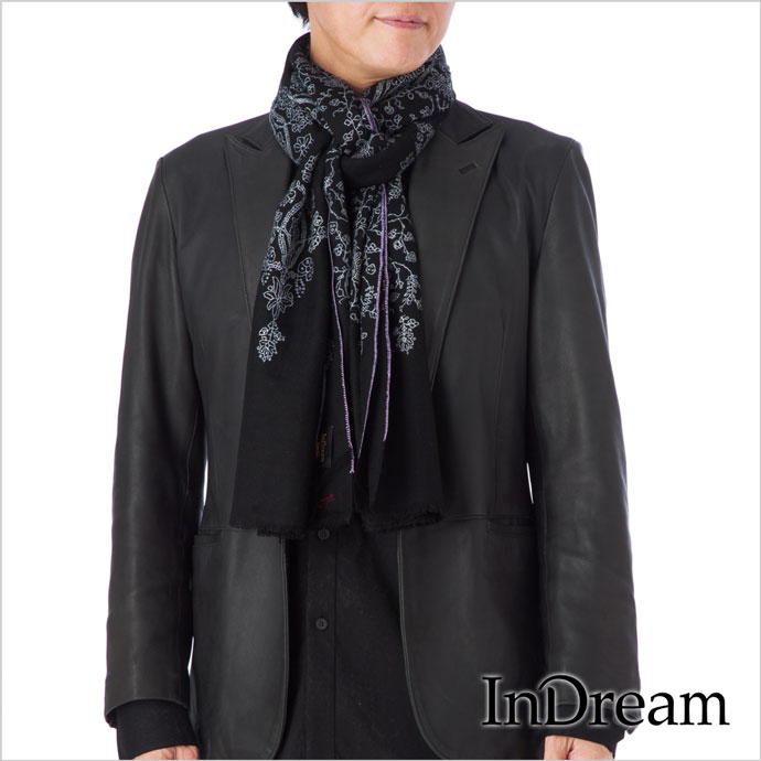 メンズストール パシュミナ刺繍ストール ナチュラルカラー [70cm巾] 黒(ブラック)インド ストール カシミールショール 着物ショール 結婚式やパーティー フォーマル ギフト レディース 送料無料