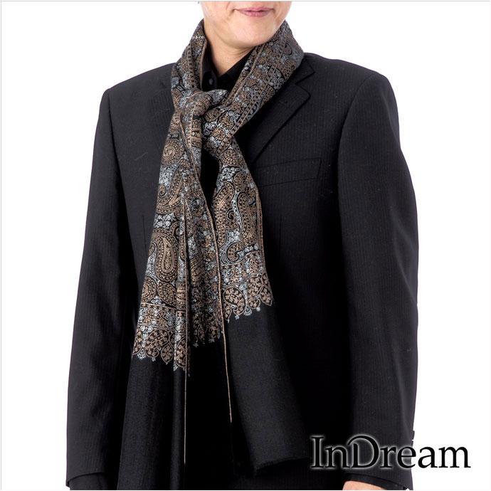 メンズストール パシュミナ刺繍ショール[100cm巾] 黒(ブラック)02 インド ストール カシミールショール 着物ショール 結婚式やパーティー フォーマル ギフト レディース 送料無料