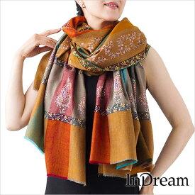 パシュミナ刺繍ショール [100cm巾] オレンジ03 インド ストール カシミールショール 着物ショール 結婚式やパーティー フォーマル ギフト レディース 送料無料
