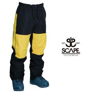 SCAPE エスケープ TRACK PANTS トラック パンツ 21-22 スキー スノーボード ウェア パンツ BLACK/YELLOW Lサイズ