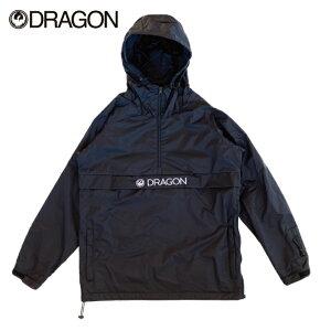 DRAGON ドラゴン ANORAK RAGLAN メンズ レディース 21-22 アノラック ジャケット アウター ハーフジップ ラグラン ナイロン 撥水 耐水 BLACK Mサイズ Lサイズ