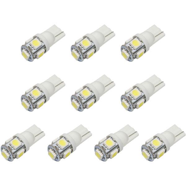 10個セット★ 送料無料 24V車用 SMD5連 T10 LED ウェッジ球 トラック デコトラ ダンプ バス 大型車用 ホワイト
