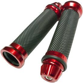 バイクグリップ レッド 赤 左右セット ハンドル ラバー アルミグリップ 汎用グリップ スロットルグリップ