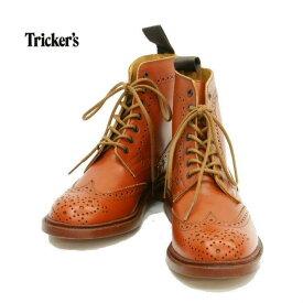 トリッカーズ 5180 カントリーブーツ ウイングチップ 7ホール レザーソール モカシンブラウン レディース Tricker's WING TIP BOOTS MOCCASIN BROWN