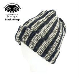 ブラックシープ HT05 GREY×NAVY ニットキャップ KNIT CAP BLACK SHEEP