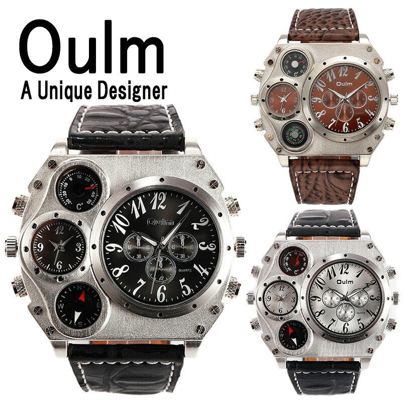 Oulm 日本製ムーブメント 腕時計 ビッグフェイス デュアルタイムス ダブルタイムス クオーツ ブラウン ブラック コンパス 温度計 方位磁石 メイドインジャパン ムーブメント オウルム