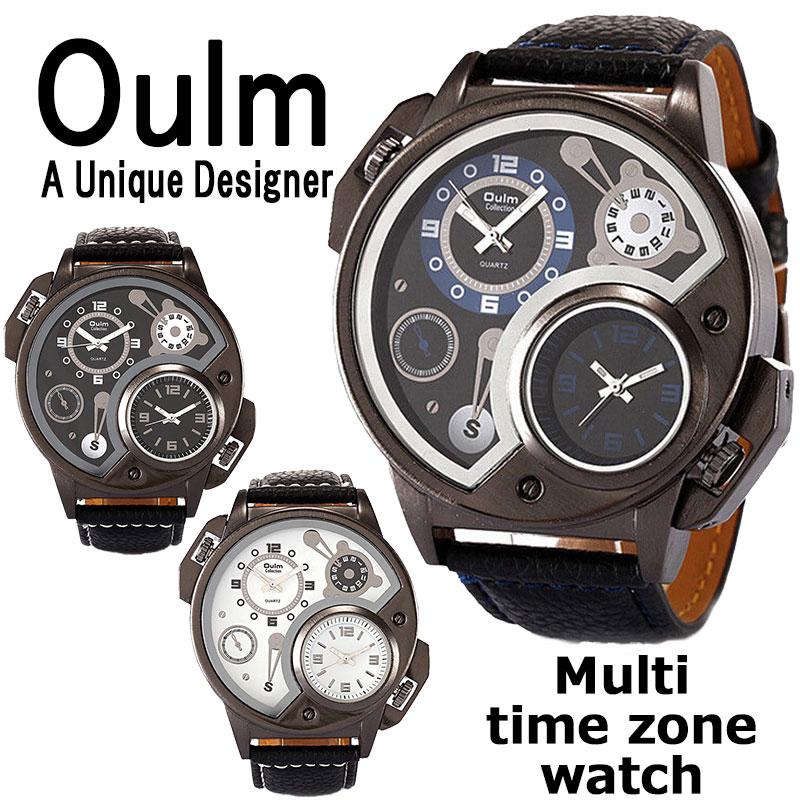 送料無料 Oulm ビッグフェイス 腕時計 日本製ムーブメント ビッグフェイス フルステンレス ステンレス デュアルタイム ダブルタイム タイムゾーン クオーツ メイドインジャパン ムーブメント 世界時計 オウルム