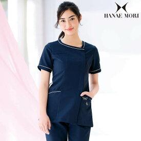 [ハナエモリ]アシンメトリーVネックジャケット医療 ナース 看護師 介護士 白衣 ジャケット 女性 アンファミエ infirmiere
