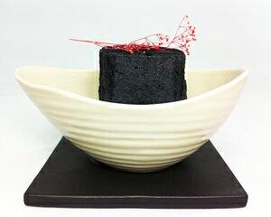 インテリア岩手切炭 『菊』(KIKU))陶器台座付き(陶器ベース卓上インテリア)当店オリジナル商品!バーベキュー