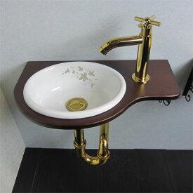 【Eセット35b】-アウトレット-陶器ボウル・水栓の色が選べる木製化粧台セット(木・ウッド・省スペース・金・古金・黒セット)INK-0504080HKset