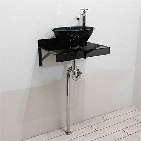 洗面台セット おしゃれ アクリル 壁付け 日本製 黒 ブラック W450×D320 | 品番【Eセット102】