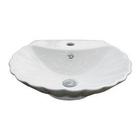 洗面ボウル おしゃれ 陶器 シェル 貝 置き型 洗面台 オーバーフロー有り W515×D460×H150 INK-0403005H