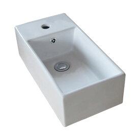 小さい洗面ボウル 陶器 省スペース トイレ用 オンカウンターシンク オーバーフロー有り W480×D237×H145 INK-0405030H