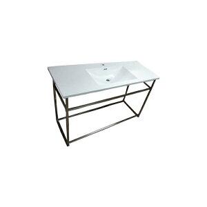 人工大理石洗面化粧台(洗面台・手洗いシンク)ステンレス台付属 白 W1250×D500×H170 INK-04130037Hset