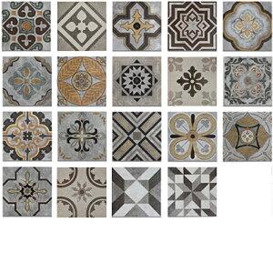 タイル 陶器製 庭 ベランダ 玄関 DIY 200角 1箱24枚入り(ランダム封入) | INK-1317005H