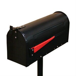 -アウトレット-(多少のへこみ有り)アンティークアメリカンポスト ブラック(スタンド付き・アイアンポスト・メールボックス・郵便受け)ink-sc3134039b-set