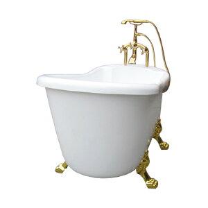 シャワー水栓付き 猫足バスタブ 置き型 浴槽 ディスプレイ シャワーヘッド付き 金足 サイズW1500×D750×H860 INK-0201026H