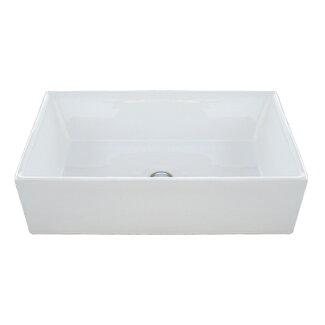 陶器洗面ボウル(手洗い鉢・洗面ボール・手洗い器・置き型・シンク・四角)W600×D400×H160INK-0402035H