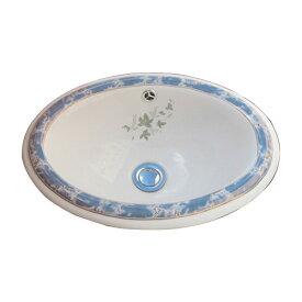 -アウトレット-(多少の柄のずれ有り)陶器洗面ボウル(手洗い鉢・ボール・埋込シンク・埋め込み・絵・柄) W420×D305×H165 INK-0403071H