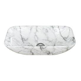 洗面ボウル 陶器 小さい 石目柄 マーブルホワイト 置き型(オンカウンターシンク) オーバーフロー無し W460×D230×H120 | 品番INK-0403300H