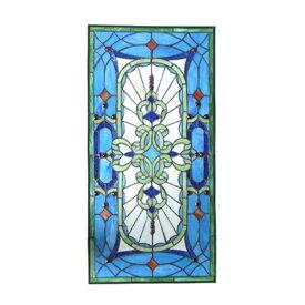 ステンドグラス アンティーク風 装飾ガラス 雑貨 おしゃれ 青系 W425×H885×T10 INK-1103011H